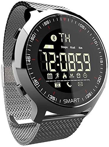 Reloj inteligente IP68, resistente al agua 5 ATM, podómetro, información, recordatorio, tiempo de espera prolongado con retroiluminación, monitor de actividad de pulsera.