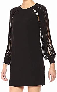 Halston Heritage Women's Multi Strip Long Sleeve Mini Dress