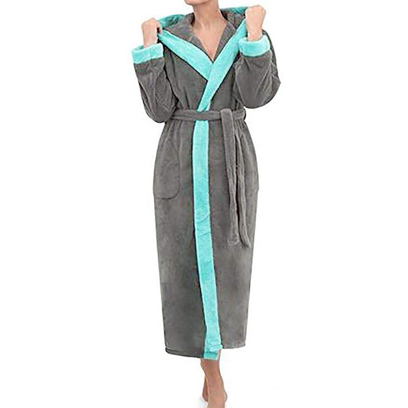 Women's Robe Winter Hooded Lengthened Long Sleeved Plush Shawl Bathrobe Kimono Robe