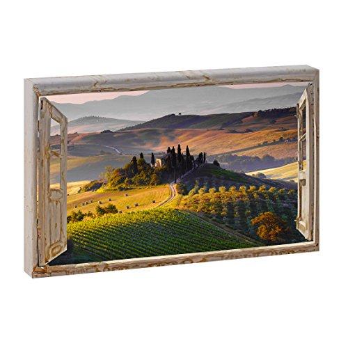 Fensterblick   Paesaggio - Toskana  Bild Bilder Panoramabild im XXL Format   Kunstdruck auf Leinwand   Wandbild   Poster   Fotografie   Verschiedene Formate (Farbig, 120 cm x 80 cm   Querformat)