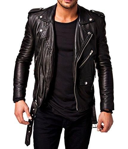 Trendtales Chaqueta de cuero para hombre, piel de cordero, Negro TTKL305 L