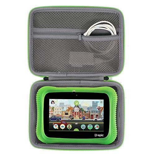 co2CREA Hard Travel Case for Leapfrog Epic Academy Edition 7-Inch Touchscreen Kids Tablet, Black Case + Green Zipper