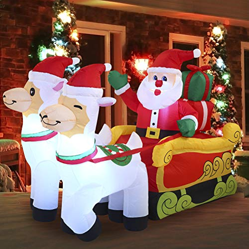 Joiedomi 6 FT Wide Christmas Santa Sleigh Inflatable with Built-in LEDs Blow Up Inflatables for Christmas Party Indoor, Holiday Outdoor Decorations, Yard, Garden, Lawn Décor.