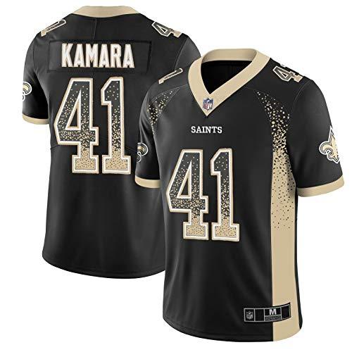 EVMM Alvin Camara # 41 Camiseta De Fútbol Americano Camiseta De Fútbol De Los New Orleans Saints Chaleco Deportivo Bordado Universitario Sudadera Juvenil,Black-L