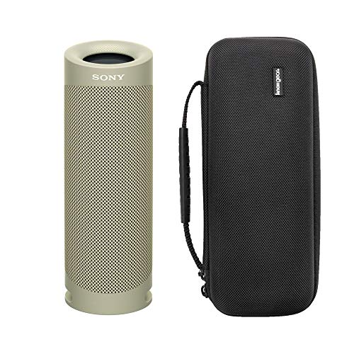 Sony SRSXB23 Extra BASS Bluetooth Wireless Portable Speaker (Taupe) with Knox Gear Hardshell Travel & Protective Case Bundle (2 Items)