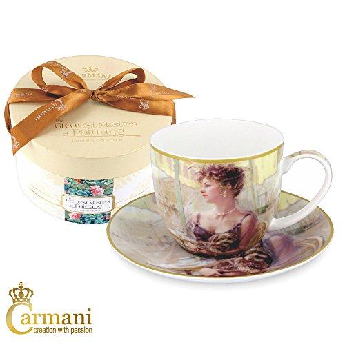 CARMANI - Porzellan Tasse und Untertasse mit Rasumov Malerei 280 ml