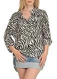 Malito Mujer Blusa con Animal-Print 3/4 Túnica Parte Superior Top 6705 (Beige)
