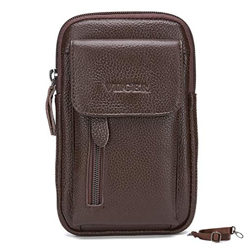 VIIGER Leather Small Crossbody Phone Purse Mens Travel Wallet Bag Mini Shoulder Messenger Smartphone Belt Holster Clip Carrying Case Holder Belt Loop Phone Pouch Compatible for iPhone 11 Pro Max,brown