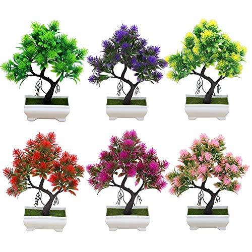 XdiseD9Xsmao Kunstbloemen in vaas, bijna natuurlijk, grenen, bonsai, groene bladen, podiumplant, tuin, party, bruiloft, kantoor, decoratie