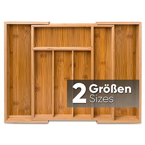 Loco Bird Besteckkasten für Schubladen aus Bambus – Ausziehbar bis zu 7 Fächern - Besteckeinsatz für Küchen & Wohnmobile - Schubladeneinsatz für Küchenschubladen - Besteckkasten aus Holz