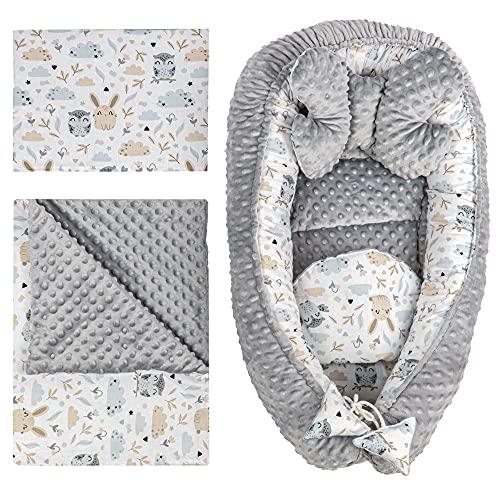 Reductor Cuna Bebe - Nido Bebe Recien Nacido Tela de algodón y vellón Set 5 Piezas Búhos de Algodón - Minky Gris Claro, 90x50 cm