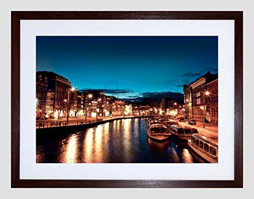 Wee Blue Coo Amsterdam Kanalen Nachtlampjes Boot Foto Omlijst Muur Art Print