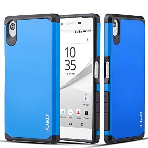 J&D Compatible para Sony Z5 Funda, [Armadura Delgada] [Doble Capa] [Protección Pesada] Híbrida Resistente Funda Protectora y Robusta para Sony Z5 - Azul