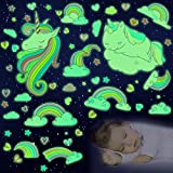 152 Pieces Stickers for Ceiling Unicorn Themed Wall Decals for Girls Bedroom Decor, Glowing Rainbow Heart Kids Wall Stickers Unicorn Decals Room Home Birthday Party Decoration (Glow in The Dark)