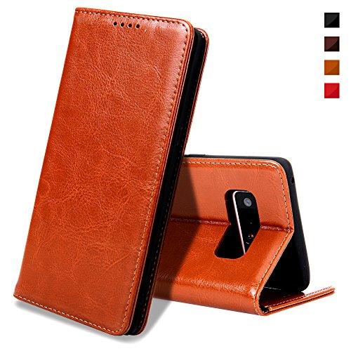 EATCYE Galaxy Note 8 Handyhülle,Galaxy Note 8 Hülle, [Echt Leder] Handyhülle Brieftasche flip Lederhülle Schutzhülle [Versteckt Magnet] Hülle für Samsung Galaxy Note 8 (Braun)