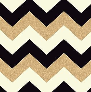Arthouse, Glitterati Black Gold Chevron Glitter Wallpaper, Modern Home Décor