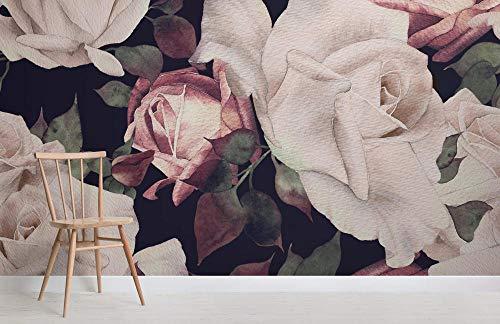 Corsage roze aquarel bloemen donker wandtattoo wandsticker 3D achtergrond sofa woonkamer TV Fresco 200×150cm