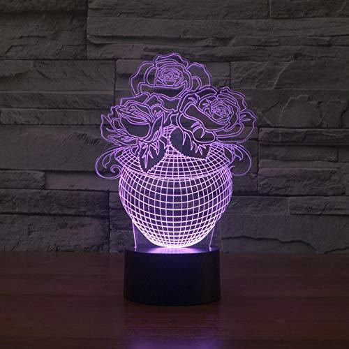 Geef een fles kleurrijke rozen tafellamp 3D Touch acryl gepersonaliseerde reclame nachtlampje logo