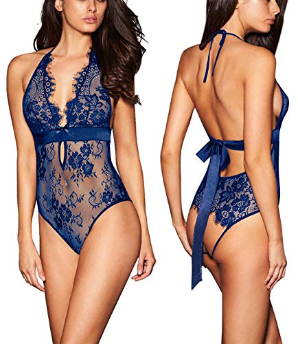 ALLoveble Women Lace Babydoll Teddy Underwear Black (L, Blue)