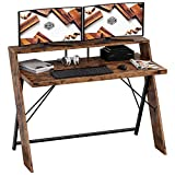 IRONCK Industrial Computer Desk 47', Office Desk with Shelf, with Thicker Tabletop and Diagonal Wood Legs, Studying Writing Table for Home Office