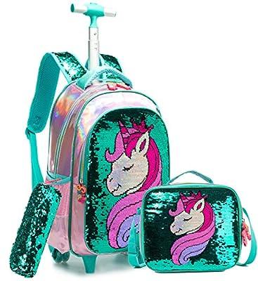 Mochila Unicornio Escolar con Ruedas Chico Genial,Lentejuelas mágicas Estudiantes de Primaria Carros para Mochilas Bolsa de Almuerzo Estuche Escolares Equipaje de Viaje Multifuncional(Verde)