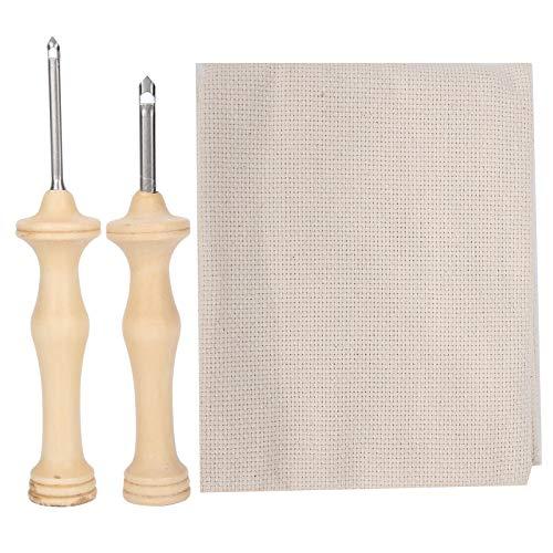 Juego de 2 agujas para perforar bordados con tela de monje, bolígrafos perforadores para bordar, herramienta para tejer con mango de madera