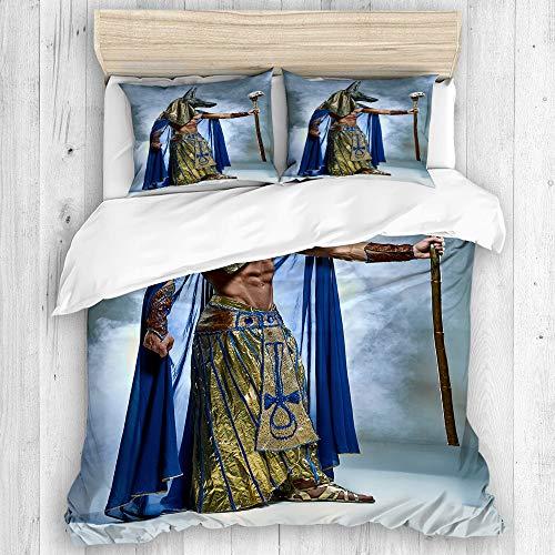 JOSENI Bedding Juego de Funda de Edredón,Antiguo faraón Egipcio con una máscara de Anubis Fondo brumoso,Microfibra SIN Relleno,(Cama 140x200 + Almohada)