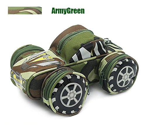 Creative Pencil Case High Capacity Pencil Pouch Durable Students Stationery Organizer Bag Camouflage with Double Zipper Password Lock Off-Road Vehicle Green