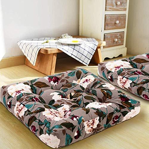 Square Floor Seat Cushion,Floral Cotton Linen Floor Pillow,Bohemian Style Tatami Chair Pad,Meditation Pillow Bay Window Cushion C 55x55x10cm(22x22x4inch)