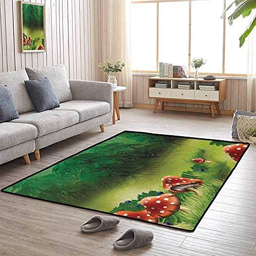 LAURE Area Rug Area Mat Teppich Fliegenpilze Magical Wonderland Lawn Meadow Scenery Greenwood