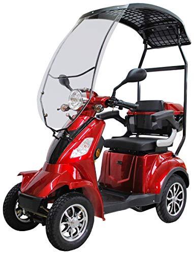 ECO ENGEL 510 Elektromobil/Seniorenmobil 4 Rad Rot mit Dach, Seniorenfahrzeug, 1000 Watt, 25 km/h