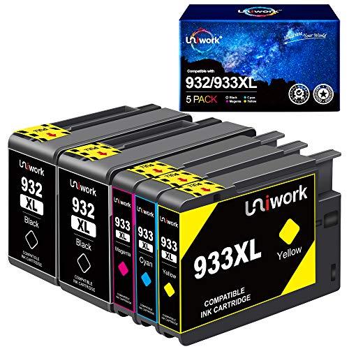 Uniwork 932 933XL Cartucce d'inchiostro Compatibili per HP 932 933 932XL 933XL per HP Officejet 6600 6700 7510 7612 7110 6100 (2 Nero, 1 Ciano, 1 Magenta, 1 Giallo)