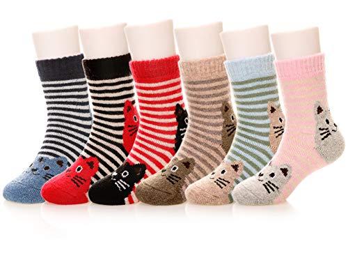 Eocom 6 Pairs Children's Winter Warm Wool Animal Crew Socks Kids Boys Girls Socks(8-12 Years,Cat)