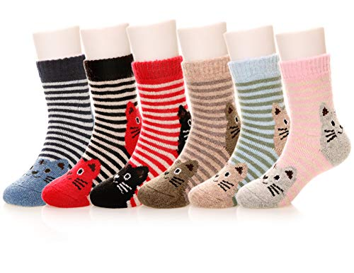 Eocom 6 Pairs Children's Winter Warm Wool Animal Crew Socks Kids Boys Girls Socks(1-3 Years,Cat)