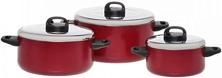 Prestige Aluminum Cooking Pots Set of 6-Piece, Red PR20915