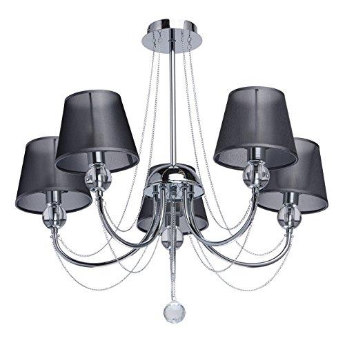 MW-Light 684010305 Jugendstil Kronleuchter Modern Metall Chrom Schirmchen Schwarz mit Kristall 5 Flammig x 40W E14