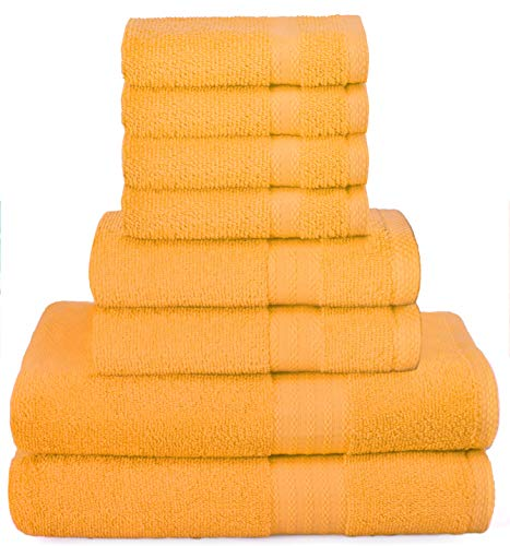 Glamburg Ultra Soft 8-Piece Towel Set - 100% Pure Ringspun Cotton, Contains 2 Oversized Bath Towels 27x54, 2 Hand Towels 16x28, 4 Wash Cloths 13x13, Ideal for Everyday use, Hotel & Spa- Mustard Yellow