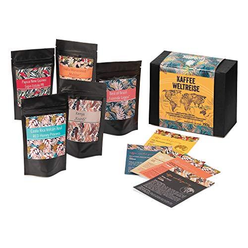 Corasol Kaffee Weltreise, Geschenkset mit 5 Tüten à 70 g geröstete Kaffeebohnen, mehrfarbig (350 g)