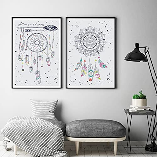 JHGJHK Exquisito Arte Acuarela Color tótem Tribal Lienzo Pintura Mural Cartel impresión Dibujo nórdico Sala de Estar decoración Pintura Pared Pintura