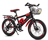 Smilewx Mountain Bike Bike Double Disc Brake Kids Mountain Bike 20 in Unisex Wheel Type Freestyle Bicycle,Red