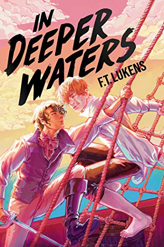 Blond guy and brunet guy on a pirate ship looking at each other. in deeper waters book cover text