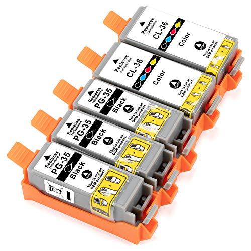 ESMOnline 5 kompatible Druckerpatronen (Schwarz, Color 4in1) als Ersatz für Canon PGI-35/CLI-36 zu Canon PIXMA TR 150 150WB iP 100 100WB 110 110WB Mini 260 320