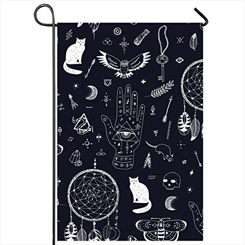 Onete Garden Flag 28x40 Inches Bottle Moon Tattoo Black Night Graphic Drawing Doodle Eye Blue Potion Attribute Hand Drawn Poison Outdoor Seasonal Home Decor Welcome House Yard Banner Sign Flags