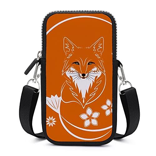 Bolso bandolera con correa extraíble para el hombro, diseño de zorros de flores, impermeable, para el brazalete del teléfono, cartera de yoga, bolsas para niñas