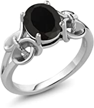 Gem Stone King Black Onyx 925 Sterling Silver Women's Ring 2.60 Ct Oval 9x7mm (Available 5,6,7,8,9)