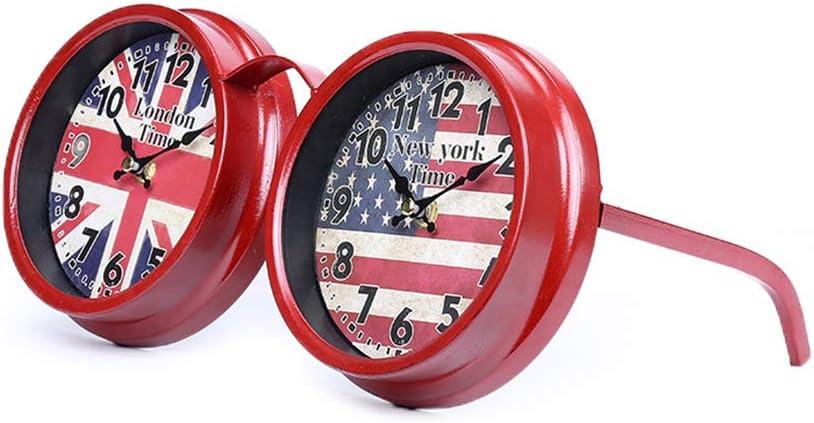 KNDJSPR American Clearance SALE! Limited time! Flag Clock Us Vintage Glasses Table Metal overseas Retro