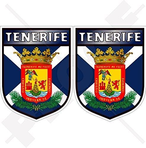 TENERIFFA INSEL Schild KANARISCHE INSELN Spanien, Islas Canarias Spanisch 75mm Auto & Motorrad Aufkleber, x2 Vinyl Stickers