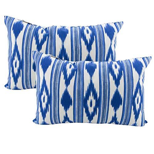 TRESMESTRES Fundas de Cojines 60x40 - Decoración Ikat - Decorativos para Sofá, Almohadas/Almohadones para Cama - Diseño Mediterráneo - Funda Cojín 40x60 cm, 2 Pack, Azules