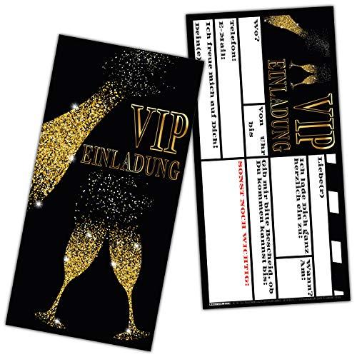 VIP EINLADUNG BUBBLES Kartenset XL (24 Stück) edle Einladungskarten in Schwarz & Gold für VIP Party Silvester Einweihung Geburtstag von BREITENWERK