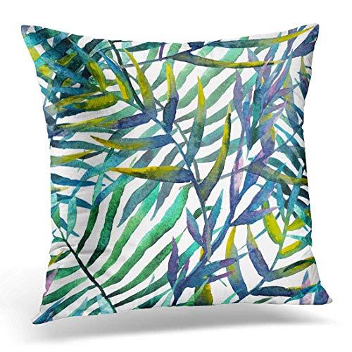 Funda de almohada de algodón con cremallera oculta, diseño de hojas de hojas de acuarela abstractas y tropicales, 60 x 60 cm